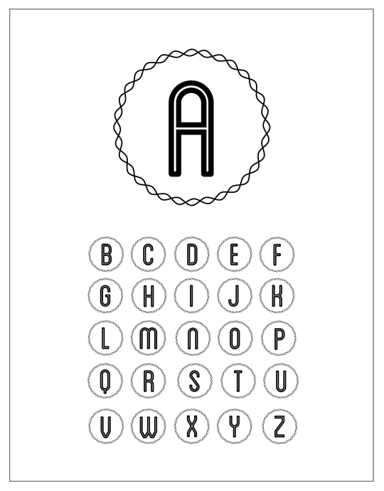 Wavy Circle Alphabet brush set