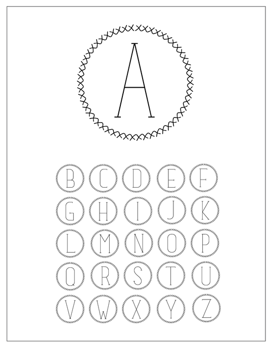 Circle X Alphabet brush set