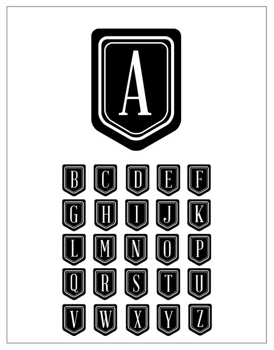Pennant Alphabet brush set